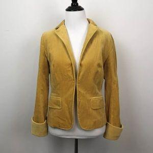 J. Crew Sz 4 Mustard Velvet Ecole Moto Jacket